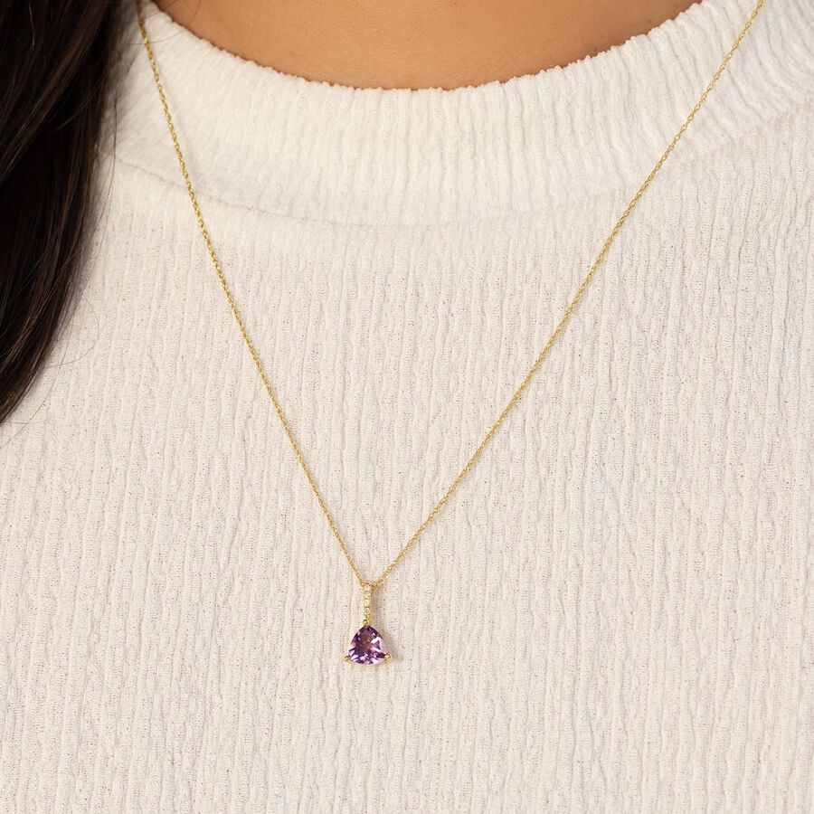 Amethyst Drop Pendant with 0.03 Diamonds in 10kt Yellow Gold