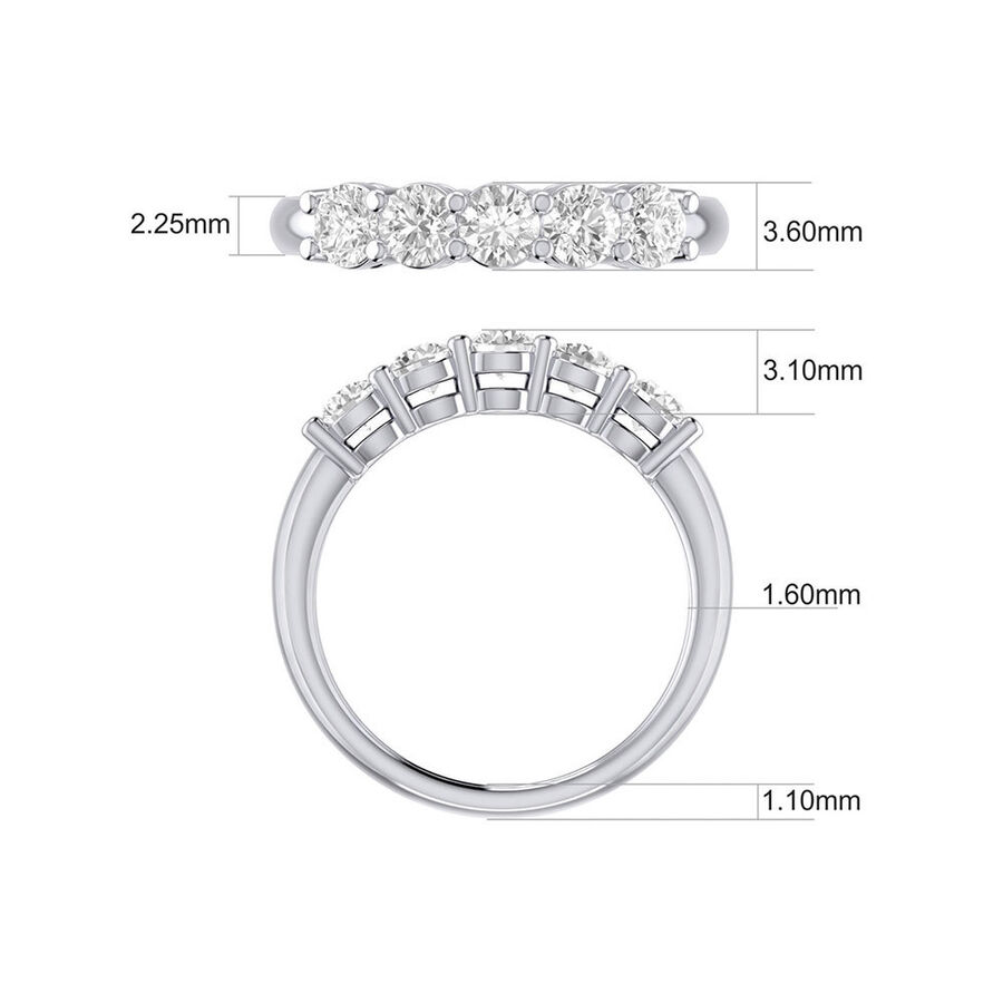 Evermore 5 Stone Wedding Band with 1 Carat TW of Diamonds in 14kt White Gold