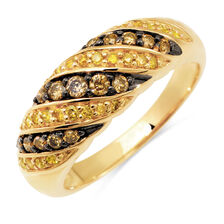 Ring with 1/2 Carat TW of Champagne & Enhanced Yellow Diamonds in 10kt Yellow Gold