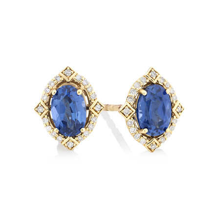 Earrings with Created Sapphire & Diamonds in 10kt Yellow Gold