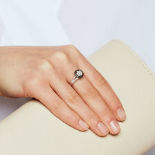 Ring with Black & White Cubic Zirconias in Sterling Silver