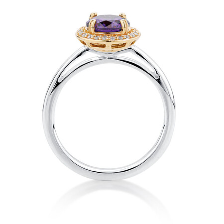 Purple & White Cubic Zirconia, Sterling Silver & 10kt Yellow Gold Stacker Ring
