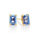 Stud Earrings with Created Blue Sapphire in 10kt Yellow Gold