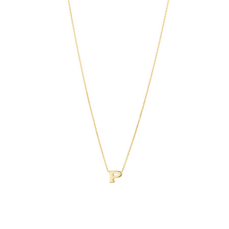 """""""P"""" Initial Necklace in 10kt Yellow Gold"""