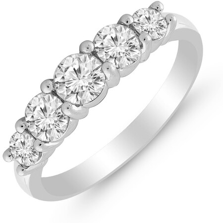 Five Stone Ring with 1.00 Carat TW of Diamonds in 14kt White Gold