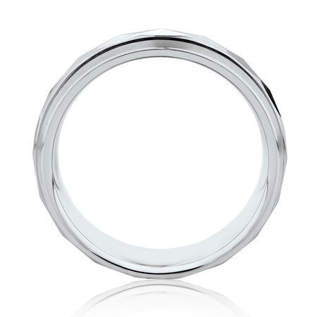 Men's 7mm Patterned Ring in White Tungsten