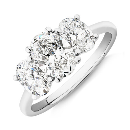 Laboratory-Created 2 Carat Three Stone Oval Diamond Ring In 14kt White Gold
