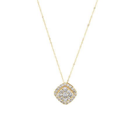 Cluster Pendant with 1 Carat TW of Diamonds in 10kt Yellow Gold