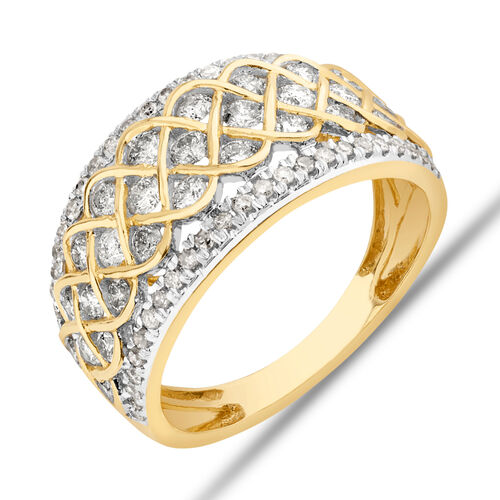 Pave Ring With 1.25 Carat TW Diamond in 10kt Yellow Gold