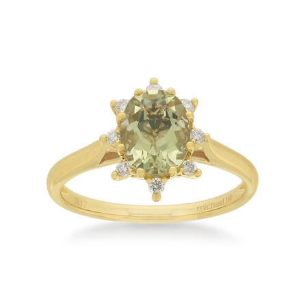 Ring with Quartz & Diamond in 10kt Yellow Gold