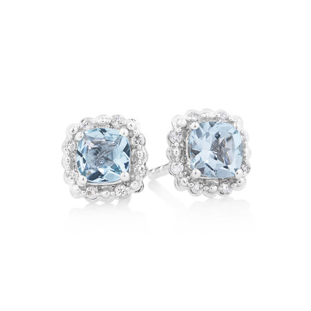 Earrings With Aquamarine & Diamonds In 10kt White Gold