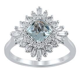 Ballerina Ring with Aquamarine & 0.75 Carat TW of Diamonds in 10kt White Gold