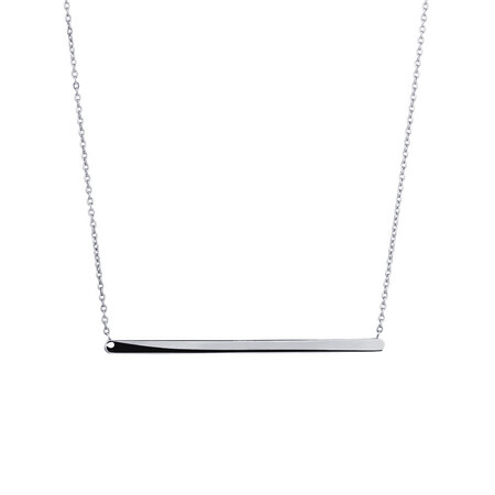 """45cm (18"""") Bar Necklace in 10kt white Gold"""