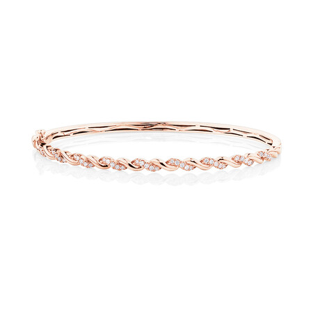 Twist Bangle With 0.33 Carat TW Diamonds In 10kt Rose Gold