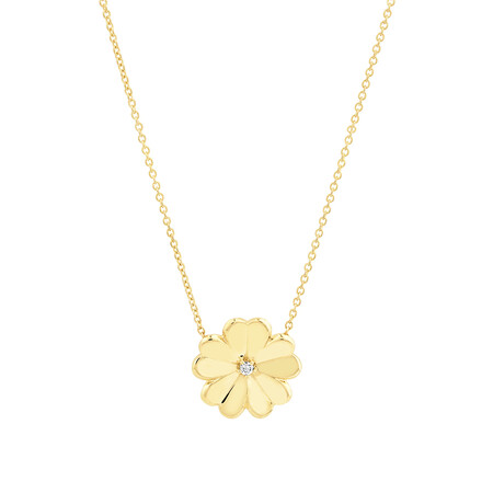 Flower Necklace with Diamonds in 10kt Yellow Gold