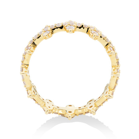 Two Row Zipper Ring with 1 Carat TW of Diamonds in 10kt Yellow Gold