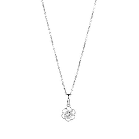 Flower Pendant with Diamonds in 10kt White Gold