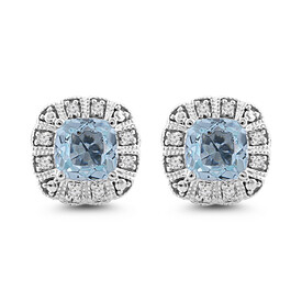 Stud Earrings with Aquamarine & Diamond in 10kt White Gold