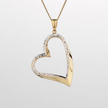 Online Exclusive - Heart Pendant in 10kt Yellow & White Gold