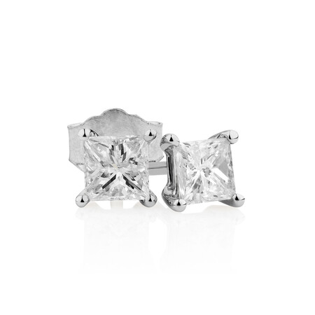 Stud Earrings with 0.71 Carat TW of Diamonds in 14kt White Gold