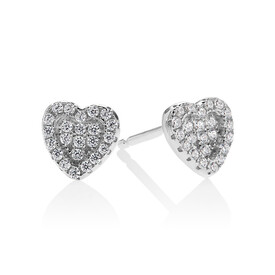 Pave Heart Stud Earrings with White Cubic Zirconia in Sterling Silver