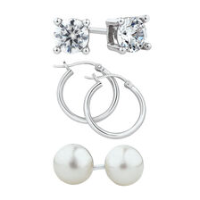 Stud & Hoop Earrings Set with Cultured Freshwater Pearls & Cubic Zirconia in Sterling Silver