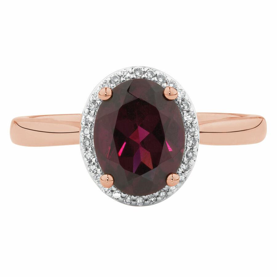 Ring with Rhodolite Garnet & Diamonds in 10kt Rose Gold