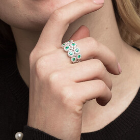 Ring with 1 Carat TW of Diamonds & Natural Emeralds in 14kt White Gold