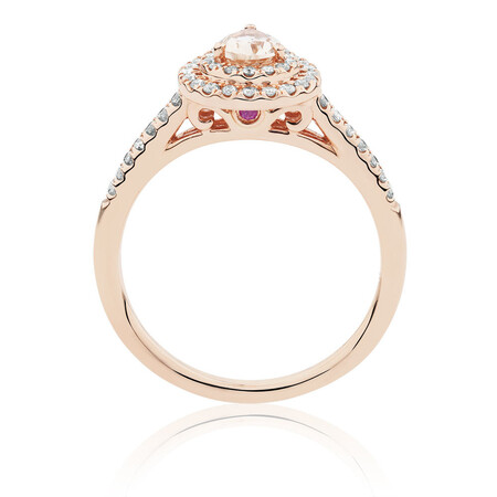 Sir Michael Hill Designer Fashion Ring with Morganite & 1/4 Carat TW of Diamonds in 10kt Rose Gold