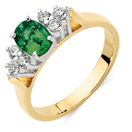 Ring with Green Sapphire & 1/4 Carat TW of Diamonds in 10kt Yellow & White Gold