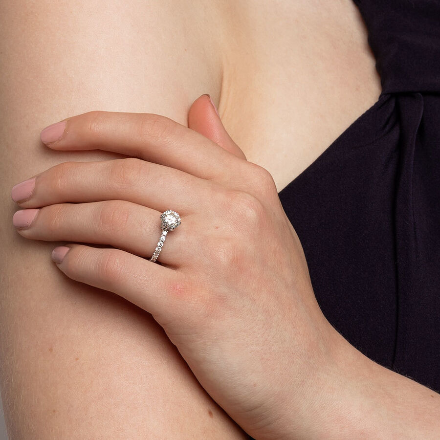 Sir Michael Hill Designer Engagement Ring With 2.02 Carat TW Of Diamonds In 14ct White & Rose Gold
