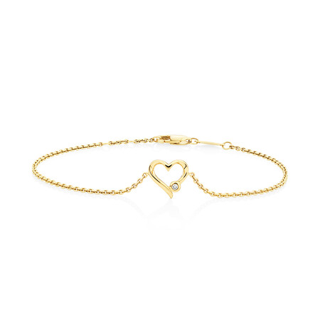 Heart Bracelet With Diamond In 10kt Yellow Gold