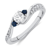 Three Stone Engagement Ring with Sapphire & 1/2 Carat TW of Diamonds in 10kt White Gold