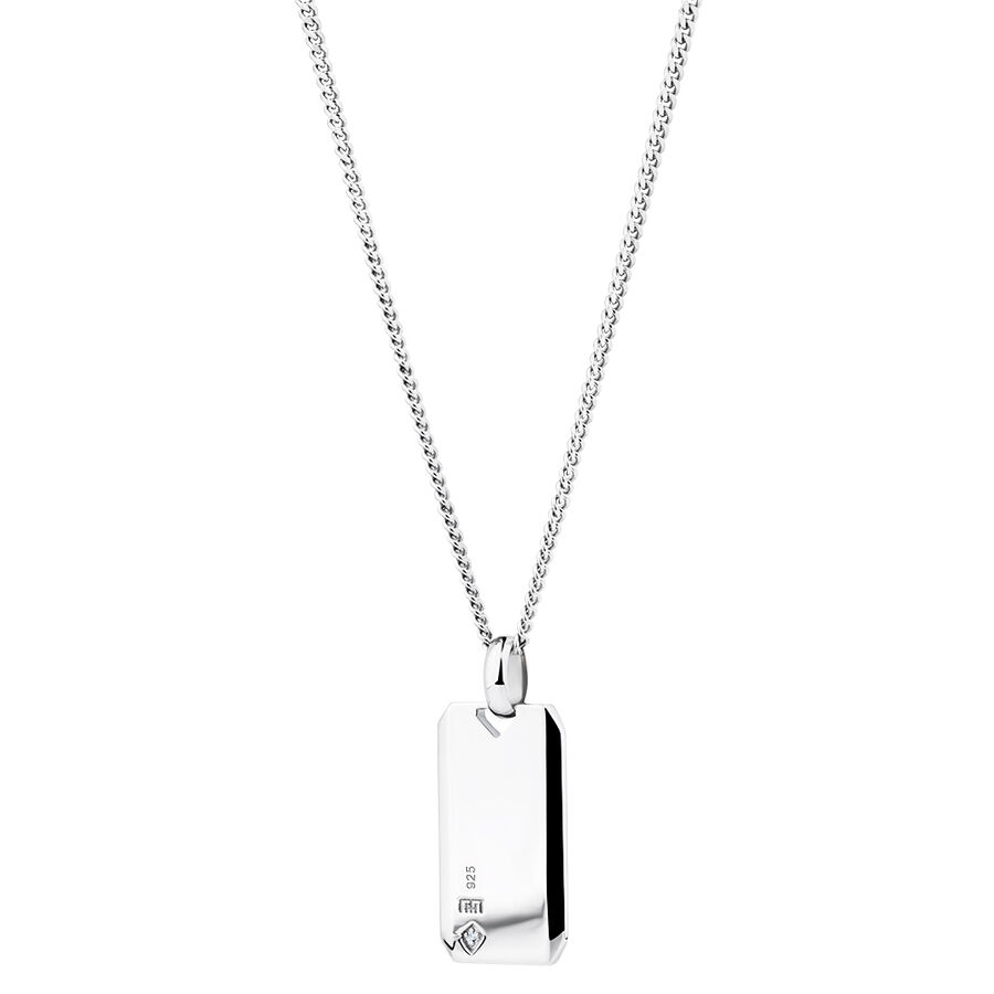 Dog Tag Pendant with Diamonds in Sterling Silver