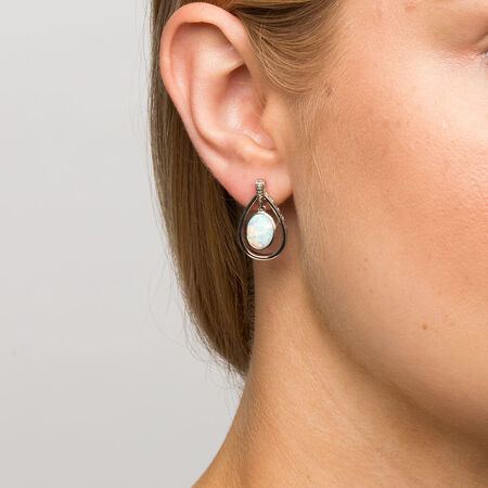 Drop Earrings with Created Opal & Diamonds in Sterling Silver