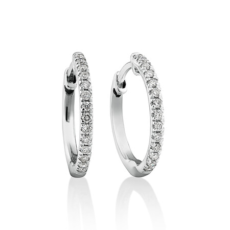 Pave Hoop Earrings with 0.15 Carat TW Diamonds in 10kt White Gold
