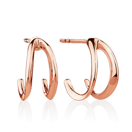 Small Mark Hill Huggie Earrings in 10kt Rose Gold