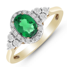 Ring with Created Emerald & Diamond in 10kt Yellow Gold