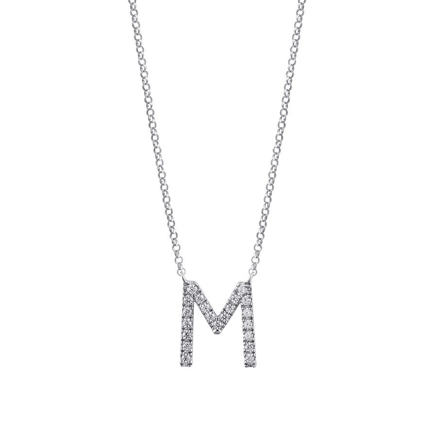 M' Initial necklace with 0.10 Carat TW of Diamonds in 10kt White Gold