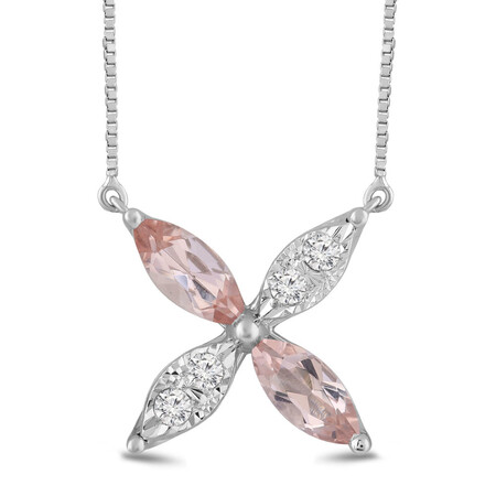 Flower Necklace with Morganite and 0.10 Carat TW of Diamonds in 10kt White Gold