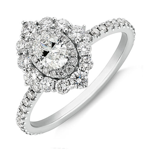 Sir Michael Hill Designer Oval Engagement Ring with 0.92 Carat TW Diamonds in 18kt White Gold