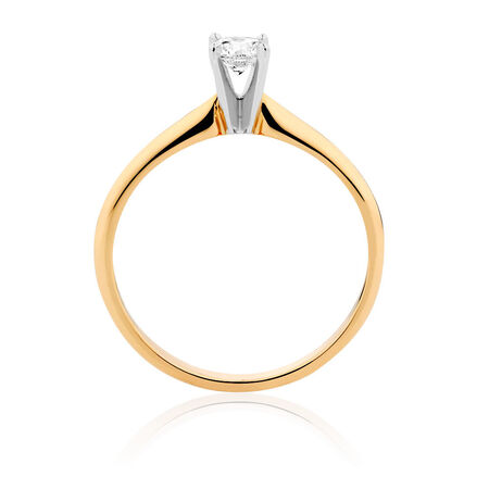 Solitaire Engagement Ring with a 0.23 Carat Diamond in 14ct Yellow & White Gold