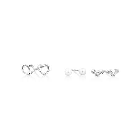 Earring Set with Cubic Zirconia & Cultured Freshwater Pearls In Sterling Silver