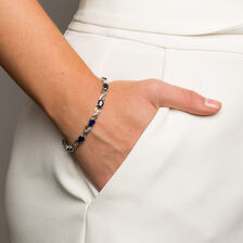 Bracelet with Created Sapphires & Diamonds in Sterling Silver