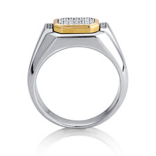 Men's Ring with 0.16 Carat TW of Diamonds in 10kt Yellow Gold & Sterling Silver
