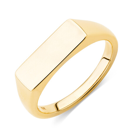 Rectangle Bar Signet Ring in 10kt Yellow Gold