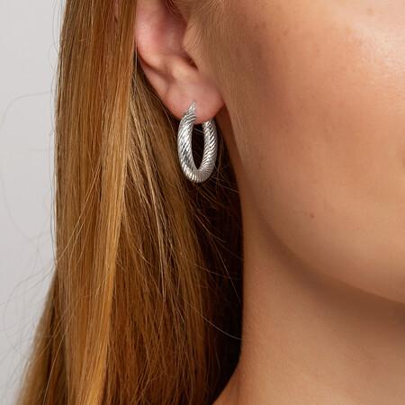 15mm Twist Hoop Earrings in Sterling Silver