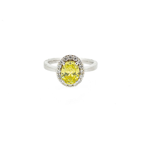 Halo Ring with Peridot and Cubic Zirconia in Sterling Silver