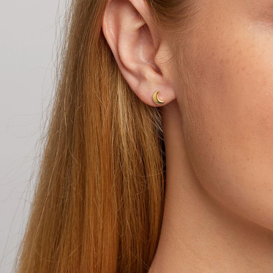 Moon Stud Earrings in 10kt Yellow Gold