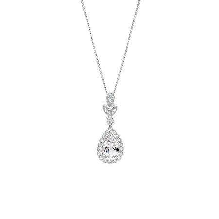 Pendant with Created White Sapphire in Sterling Silver